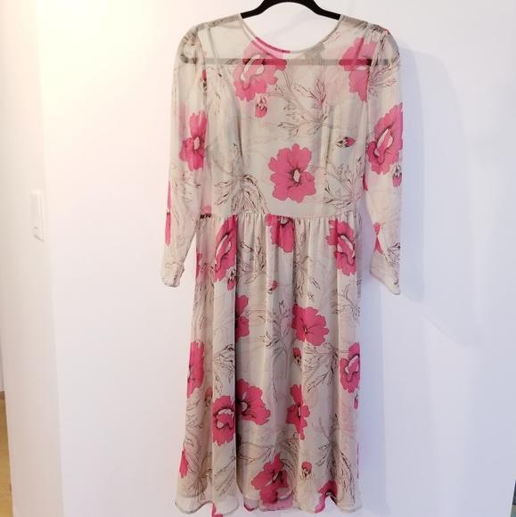 ASOS Dresses & Skirts - ASOS Floral Poppy Print Sheer Dress with Slip